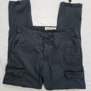 A&F Gray Skinny Cargo Pants With Drawstring Waist
